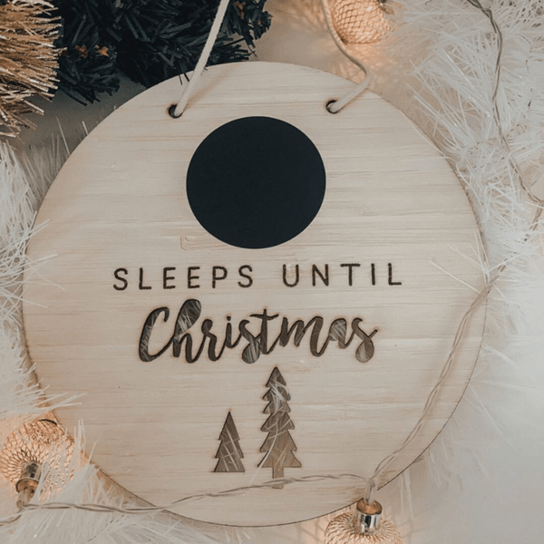 Funny Bunny Kids Christmas Gifts Sleeps till Christmas hanging sign