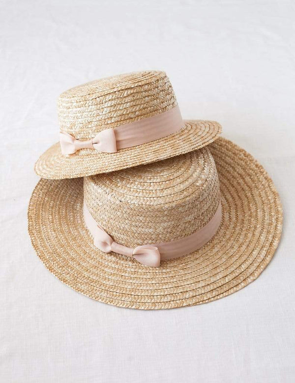 Karibou Kids Accessories Hats Pink Ribbon Daughter Straw Boater Sun Hat