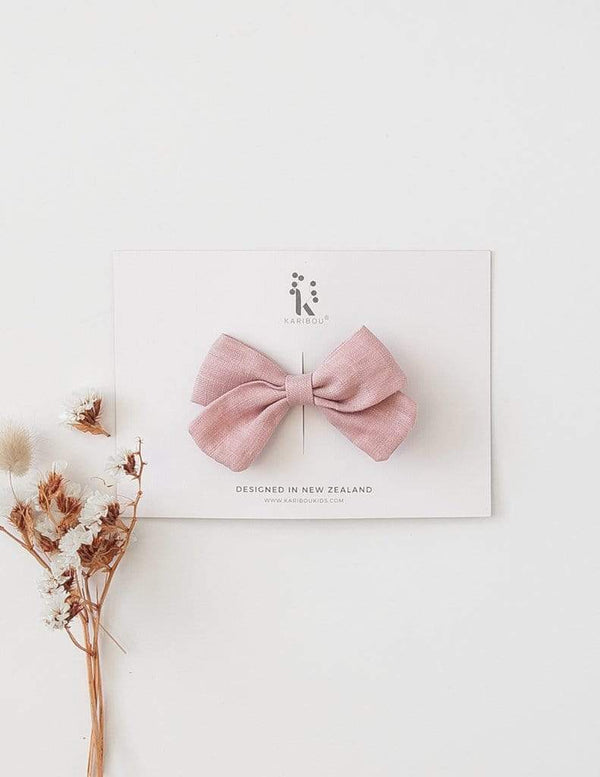Karibou Kids Accessory Hair Lulu Linen Bow Clip in Blush