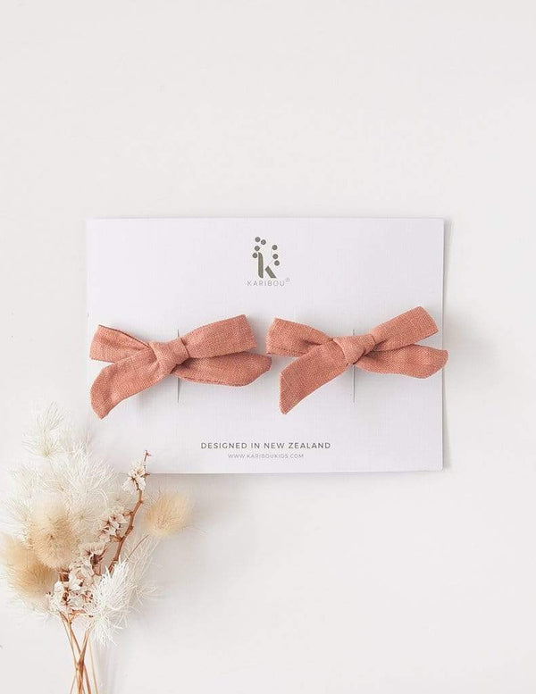Karibou School Girl Linen Bow Clips - 2 Pack - Parnell Baby Boutique