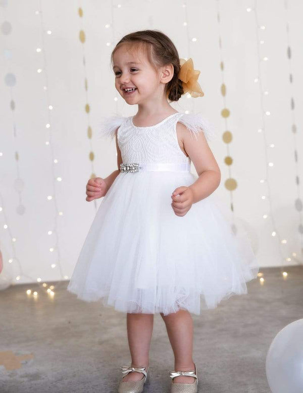 Angelina Feather & Lace Gown - Parnell Baby Boutique