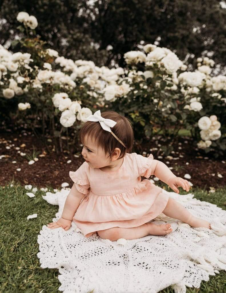Ella Linen Dress - Marshmellow - Parnell Baby Boutique