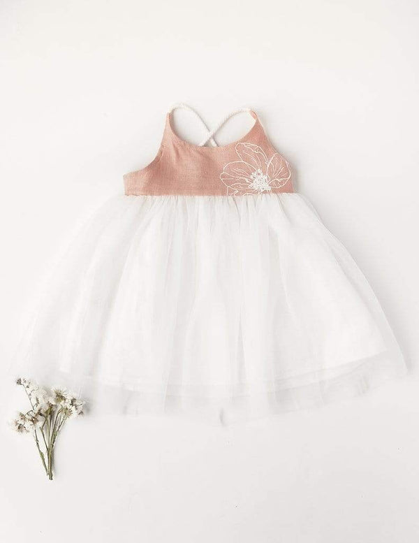 Karibou Kids Girls Dress Willa Reversible Linen Tutu Dress In Petal - Garden Edition