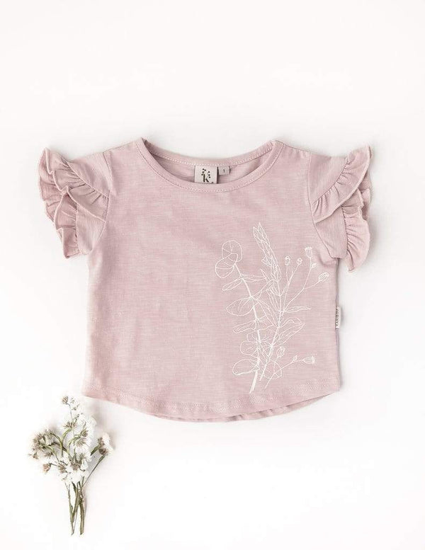Karibou Kids Girls Top Powder Pink / 1Y Olivia Girls Cotton Slub T-shirt