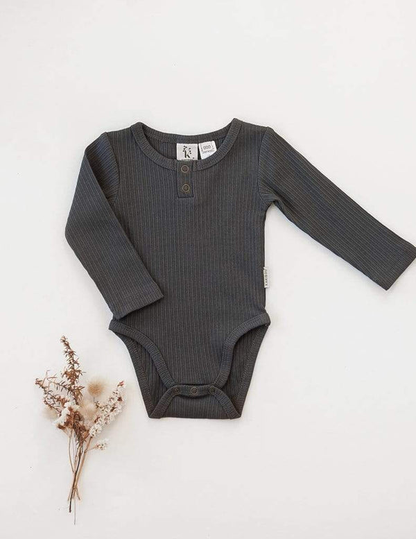 Willow Long Sleeve Cotton Bodysuit - Pepper - Parnell Baby Boutique