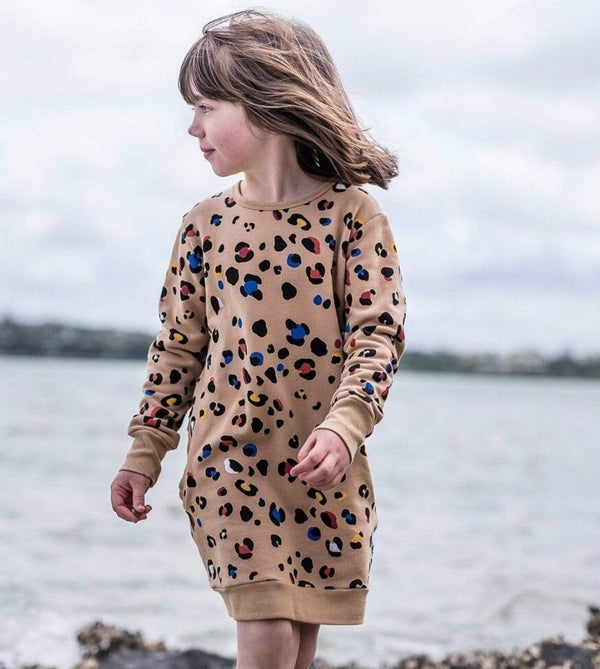 Kissed By Radicool Girls Dress Colour Pop Leopard Sweater Dress