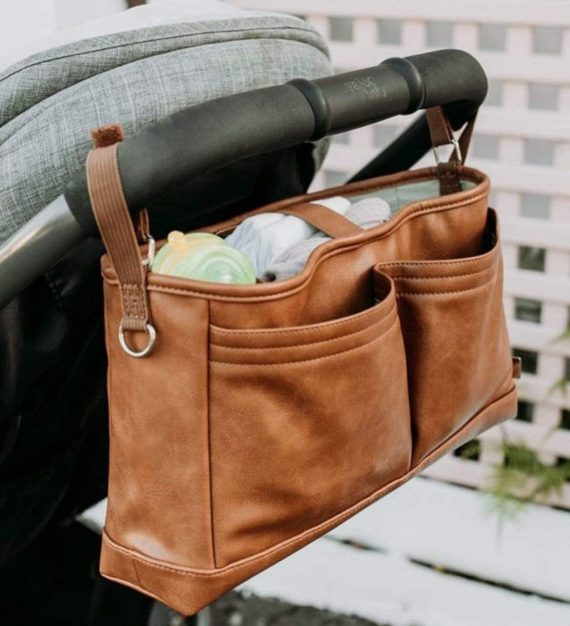 Faux Leather Stroller Organiser/Pram Caddy - Tan - Parnell Baby Boutique