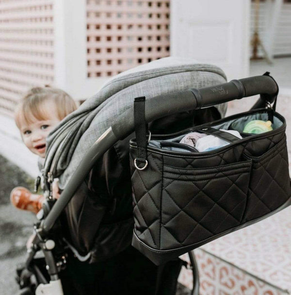 Stroller Organiser/Pram Caddy - Black Diamond Quilt - Parnell Baby Boutique