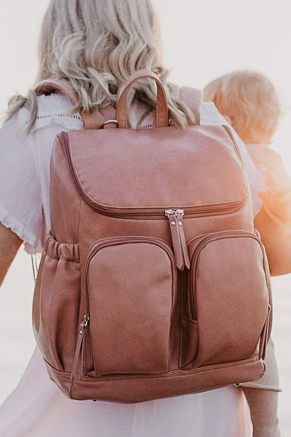 OiOi Faux Leather Nappy Backpack - Dusty Rose - Parnell Baby Boutique