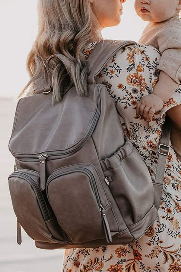 OiOi Faux Leather Nappy Backpack - Taupe - Parnell Baby Boutique