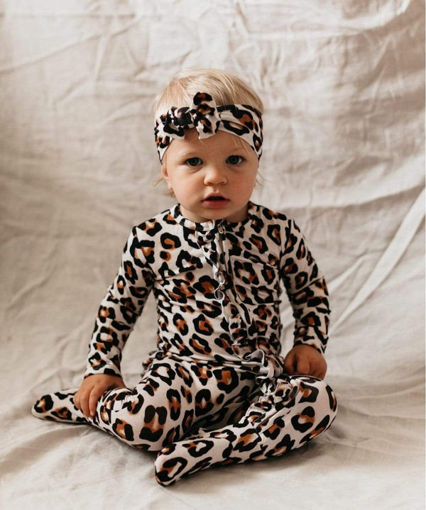 Zip Ruffled Romper - Natural Leopard - Parnell Baby Boutique