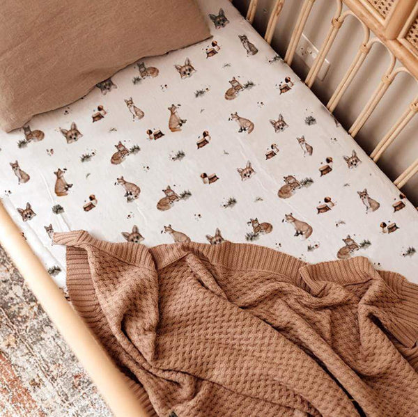 Snuggle Hunny Kids Linen Sheets Fox New Collection Snuggle Hunny Organic Fitted Cot Sheet