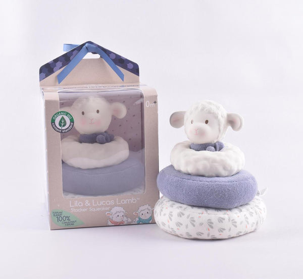 Lucas Lamb Stacker Toy with blue bow - Parnell Baby Boutique
