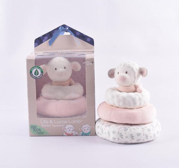 Lila Lamb Stacker Toy with pink bow - Parnell Baby Boutique
