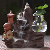 Ceramic Little Monk Small Buddha Waterfall Incense