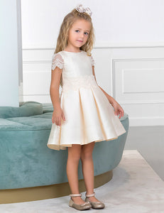 Girls Off white dress lace cap sleeve