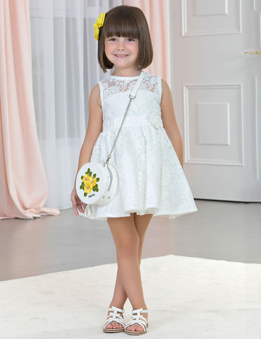 Girls White embroidered tulle dress