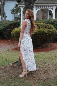Floral white print wrap maxi dress