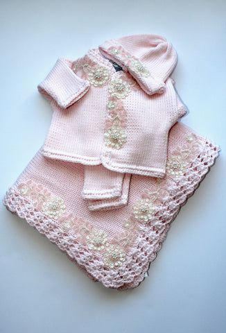 2pc w Pink Ivory Applique