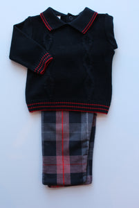 2pc Nvy Sweater Top w Plaid Pant
