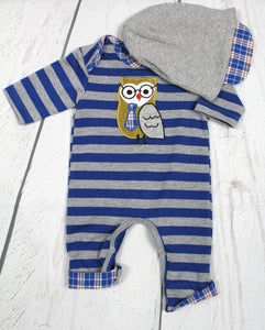 2pc striped with owl