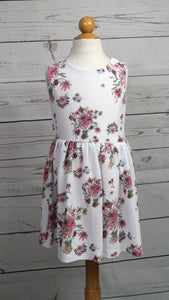 Girls white and pink floral dress