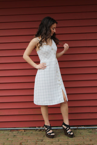 Off white asymmetric check dress