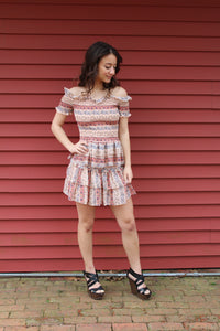 2pc Coral smock top w skirt