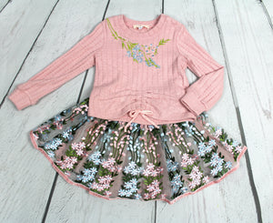 Long sleeve embroidered tutu dress
