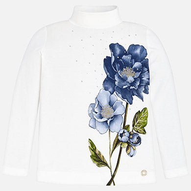 Blue flower printed mock neck