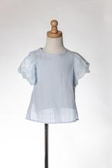 Girls Light Blue top with eyelet sleeves