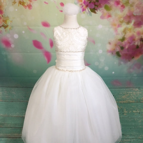 Elianna Sleeveless Tulle Sequin Couture Communion Dress With Large Bow