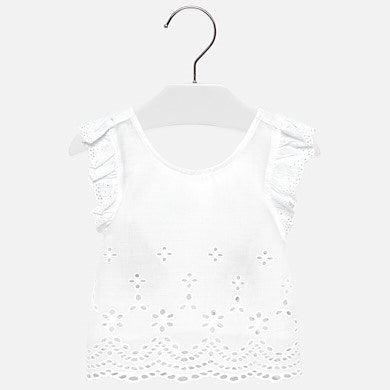 Girls Two Piece Eyelet top heart overall