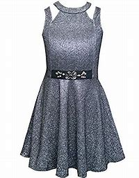 Silver Collared Fit & Flair Dress w Stone Detail at Waist
