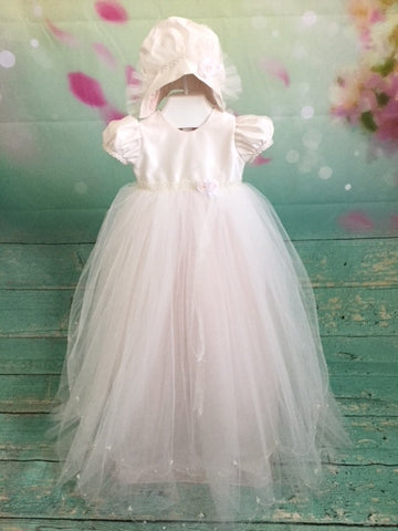 DW Pearl Silk Bodice Baby Girls Christening dress