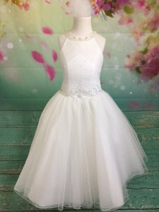 P1557 Sleeveless Simple Collar Couture Communion Dress With Bow