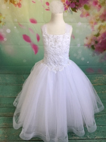 P1569 Sleeveless Detailed Couture Communion Dress With Bow