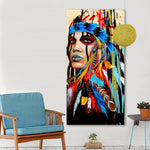Feathered Native Indian Women Canvas Print Painting - https://www.sugarcoateddecor.com/