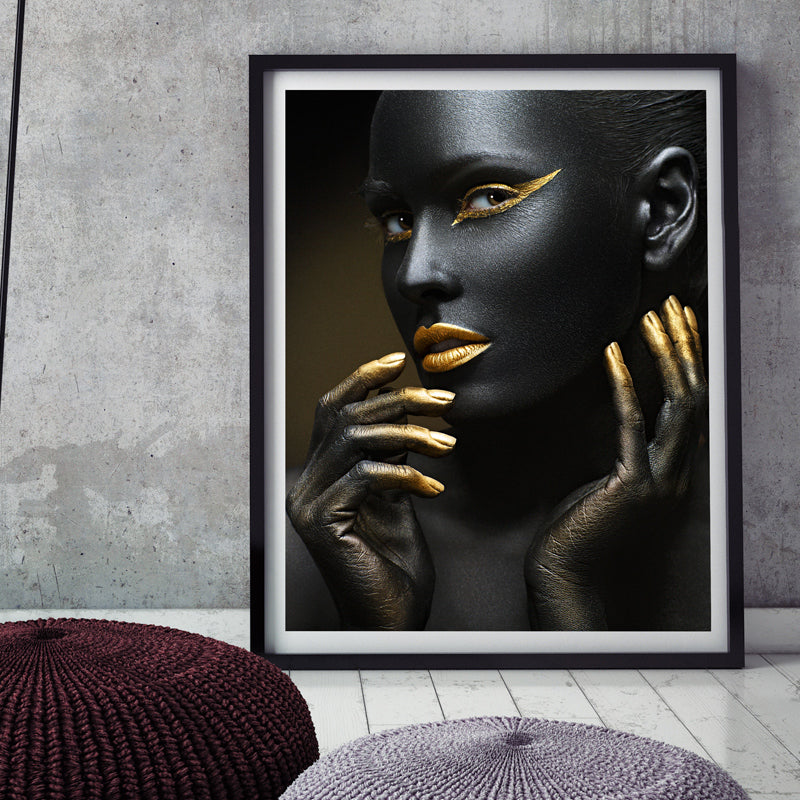 Sexy Black & Gold Woman Canvas Prints - https://www.sugarcoateddecor.com/