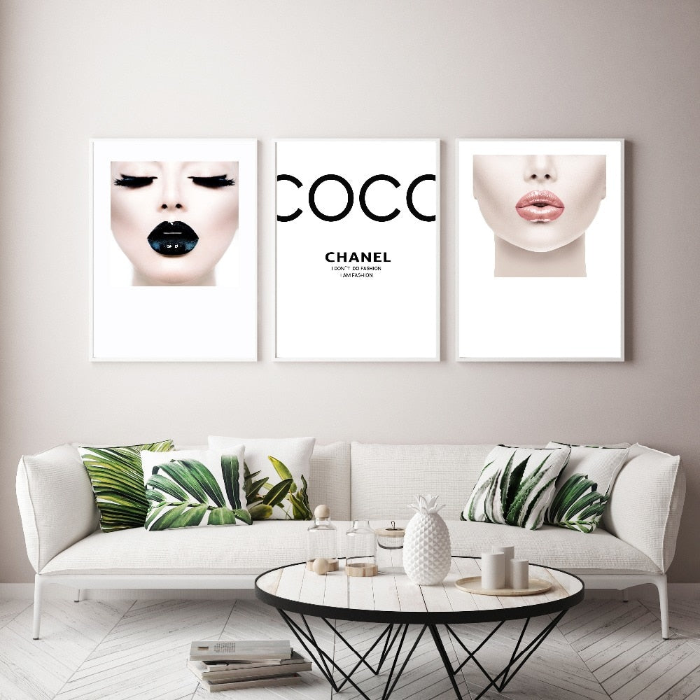 Coco Maskara & Lips Canvas Prints - https://www.sugarcoateddecor.com/