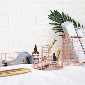 Nordic Rose Gold Baskets - https://www.sugarcoateddecor.com/