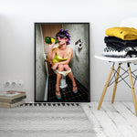 Bar Toilet Girl Canvas Prints - https://www.sugarcoateddecor.com/