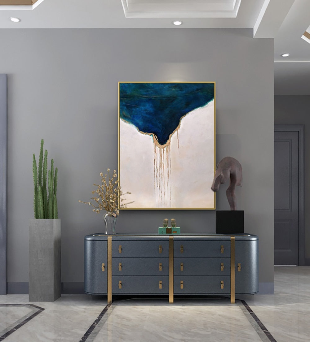 Luxurious Dripping Gold Handmade Oil Painting - https://www.sugarcoateddecor.com/