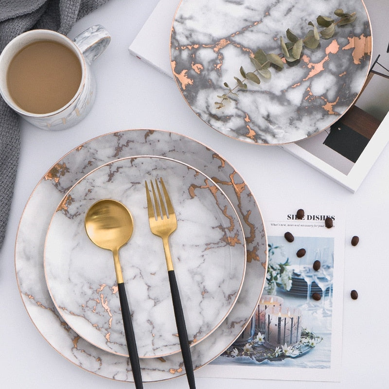 Marble Gold Inlay Plate - https://www.sugarcoateddecor.com/