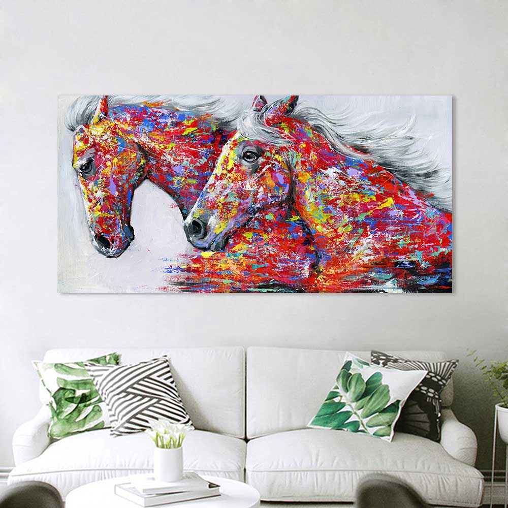 Running Horses Handmade Oil Painting - https://www.sugarcoateddecor.com/