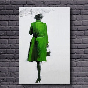 Lady In Green Handmade Oil Painting - https://www.sugarcoateddecor.com/