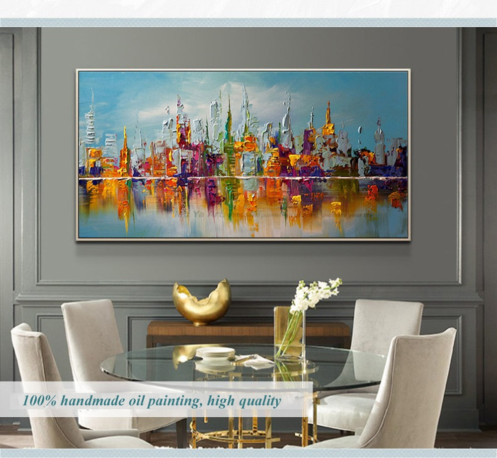 Luxury Abstract Skyline Handmade Oil Painting - https://www.sugarcoateddecor.com/
