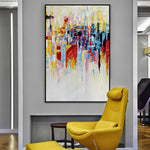 Luxurious Tall Abstract Handmade Oil Painting - https://www.sugarcoateddecor.com/