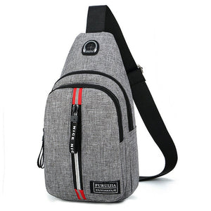 Men's Shoulder Bag Sling Chest Oxford USB Charging Sports Crossbody Handbag