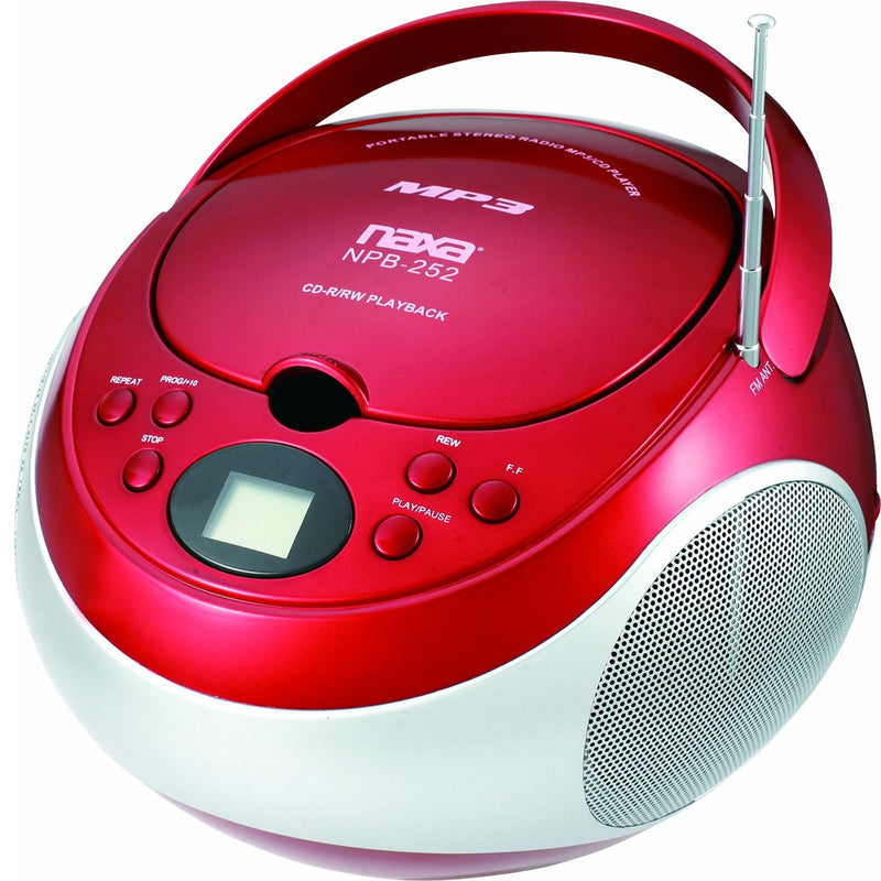 Naxa Portable MP3/CD Player with AM/FM Stereo Radio- Red - Bent Buys